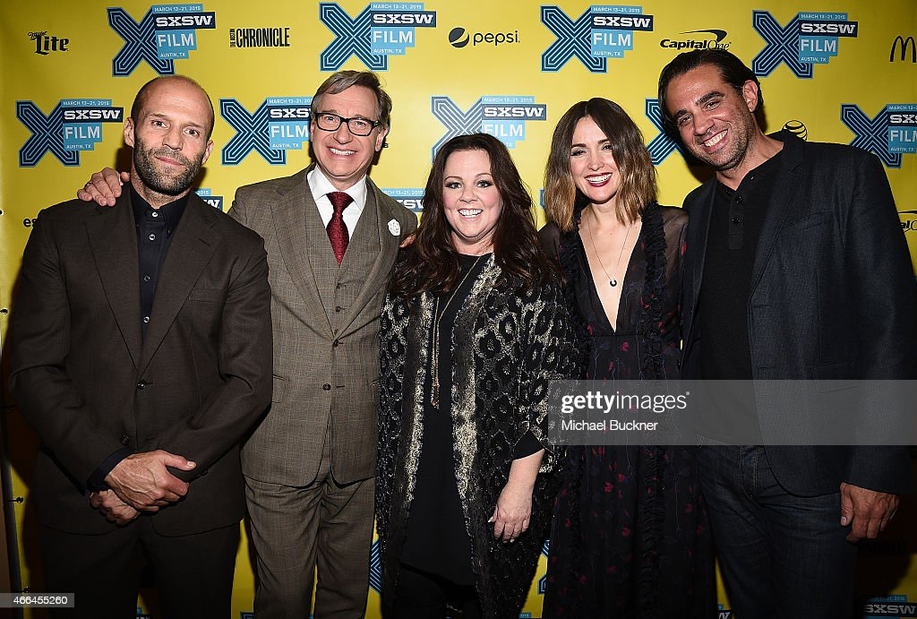 Actor Jason Statham director Paul Feig actress Melissa McCarthy actress Rose Byrne and actor Bobby Cannavale arrive at the premiere of 'Spy' during...