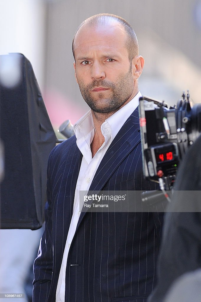 Actor jason statham films a scene at the safe movie set in midtown