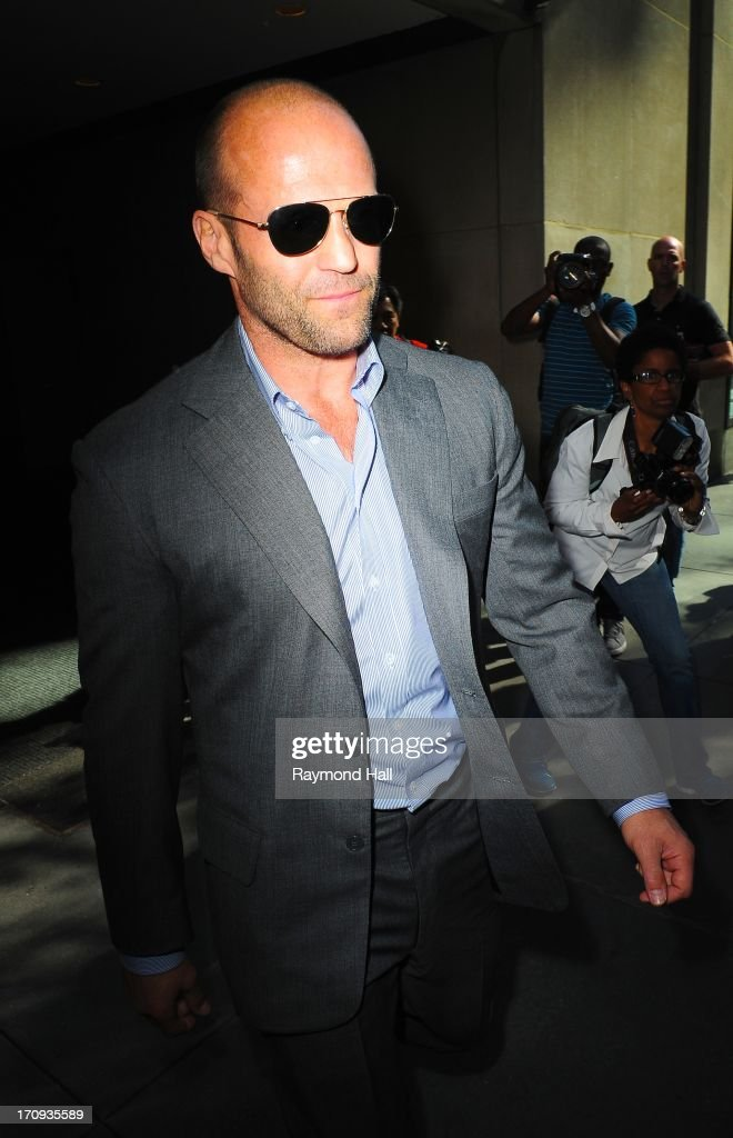 Actor Jason Statham is seen outside 'Good Morning America'ABC Studios in Times Square on June 20, 2013 in New York City.