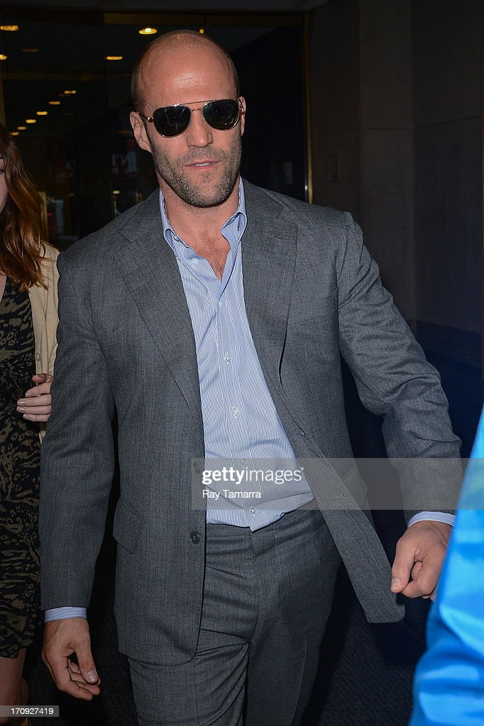 Actor Jason Statham leaves the 'Today Show' taping at the NBC Rockefeller Center Studios on June 20, 2013 in New York City.