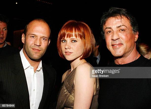 Actor Jason Statham Natalya Rudakova and Sylvester Stallone attend Planet Hollywood Resort Casino's Transporter 3 premiere on November 21 2008 in Las...