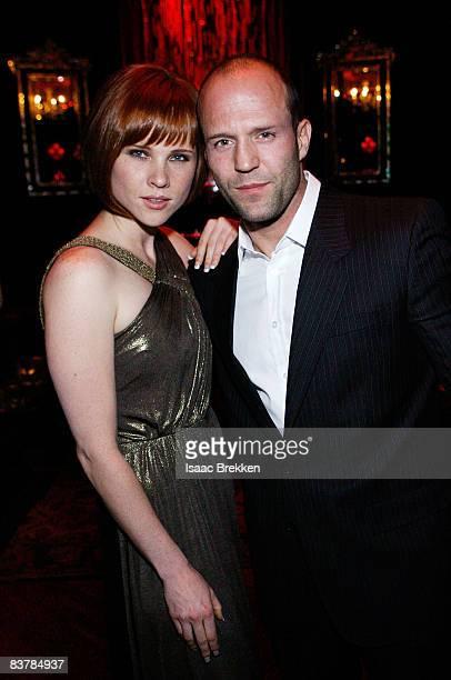 Actor Jason Statham right and Natalya Rudakova attend Planet Hollywood Resort Casino's Transporter 3 premiere on November 21 2008 in Las Vegas Nevada