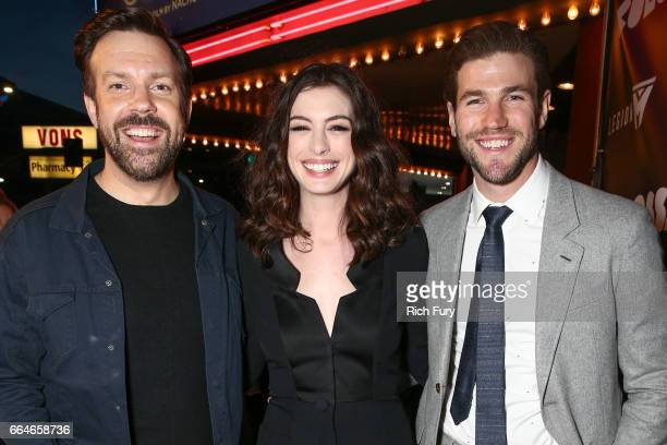 Actor Jason Sudeikis actress Anne Hathaway and actor Austin Stowell arrive at the premiere of Neon's 'Colossal' at the Vista Theatre on April 4 2017...