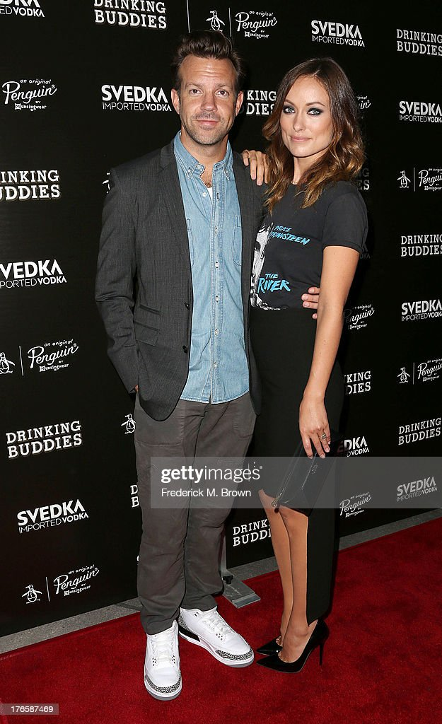 Actor Jason Sudeikis (L) and actress Olivia Wilde attend the screening of Magnolia Pictures' 'Drinking Buddies' at the ArcLight Cinemas on August 15, 2013 in Hollywood, California.