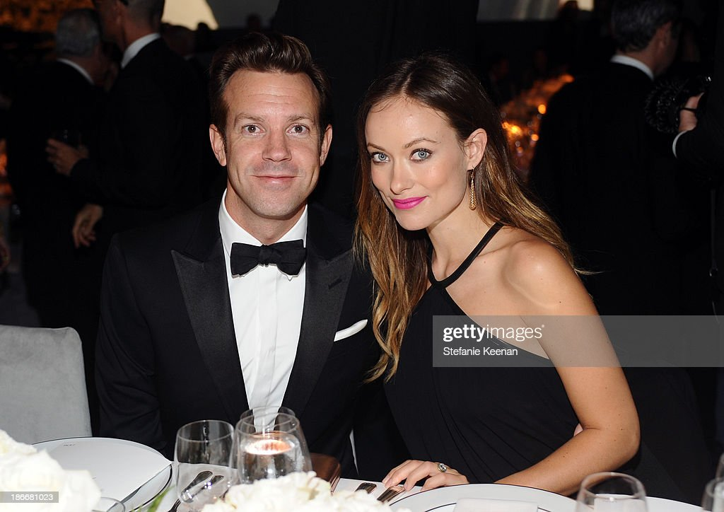 Actor <a gi-track='captionPersonalityLinkClicked' href=/galleries/search?phrase=Jason+Sudeikis&family=editorial&specificpeople=4232997 ng-click='$event.stopPropagation()'>Jason Sudeikis</a> and actress <a gi-track='captionPersonalityLinkClicked' href=/galleries/search?phrase=Olivia+Wilde&family=editorial&specificpeople=235399 ng-click='$event.stopPropagation()'>Olivia Wilde</a>, wearing Gucci, attend the LACMA 2013 Art + Film Gala honoring Martin Scorsese and David Hockney presented by Gucci at LACMA on November 2, 2013 in Los Angeles, California.