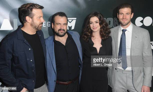 Actor Jason Sudeikis director Nacho Vigalondo actress Anne Hathaway and actor Austin Stowell arrive for the Premiere Of Neon's 'Colossal' held at the...