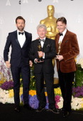 Actor Jason Sudeikis Filmmakers Malcolm Clarke and Nicholas Reed winners of Best Documentary Short Subject pose in the press room during the Oscars...