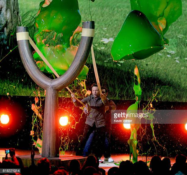 Actor Jason Sudeikis gets slimed onstage during Nickelodeon's 2016 Kids' Choice Awards at The Forum on March 12 2016 in Inglewood California