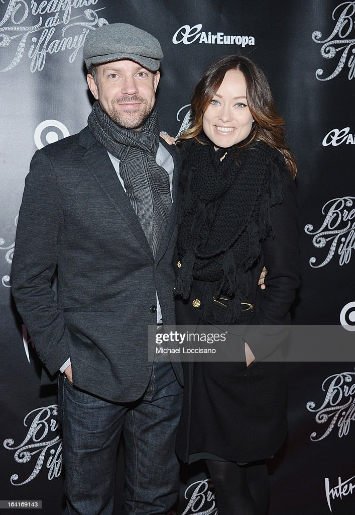 Actor Jason Sudekis and fiancee, actress Olivia Wilde attend the 'Breakfast At Tiffany's' Broadway Opening Night at Cort Theatre on March 20, 2013 in New York City.