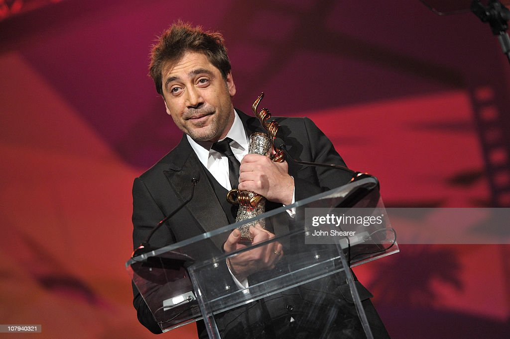 Actor <a gi-track='captionPersonalityLinkClicked' href=/galleries/search?phrase=Javier+Bardem&family=editorial&specificpeople=209334 ng-click='$event.stopPropagation()'>Javier Bardem</a> accepts the International Star Award onstage at the 22nd Annual Palm Springs International Film Festival Awards Gala at the Palm Springs Convention Center on January 8, 2011 in Palm Springs, California.