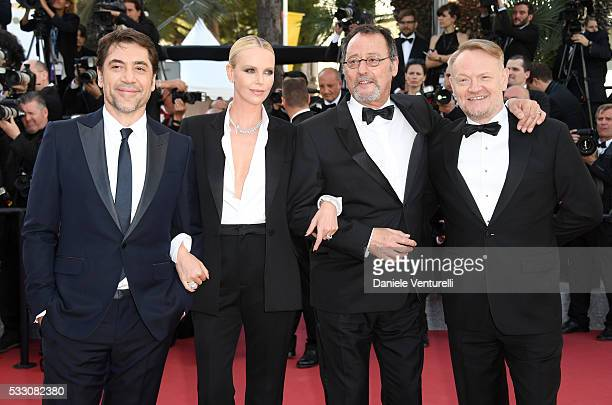 Actor Javier Bardem actress Charlize Theron actor Jean Reno and actor Jared Harris attend 'The Last Face' Premiere during the 69th annual Cannes Film...