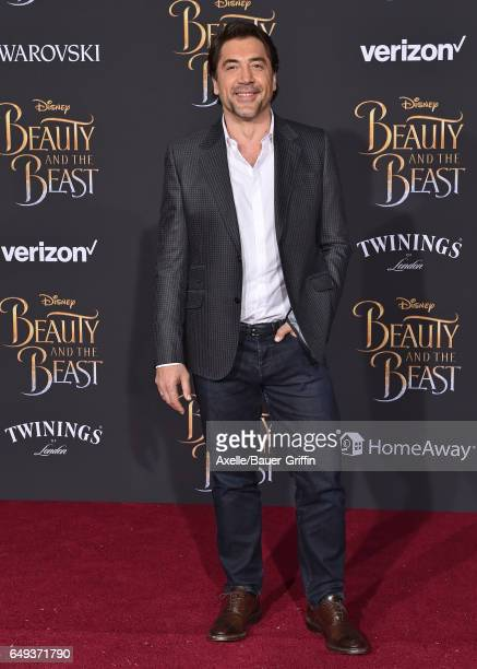 Actor Javier Bardem arrives at the Los Angeles Premiere of 'Beauty and the Beast' at El Capitan Theatre on March 2 2017 in Los Angeles California