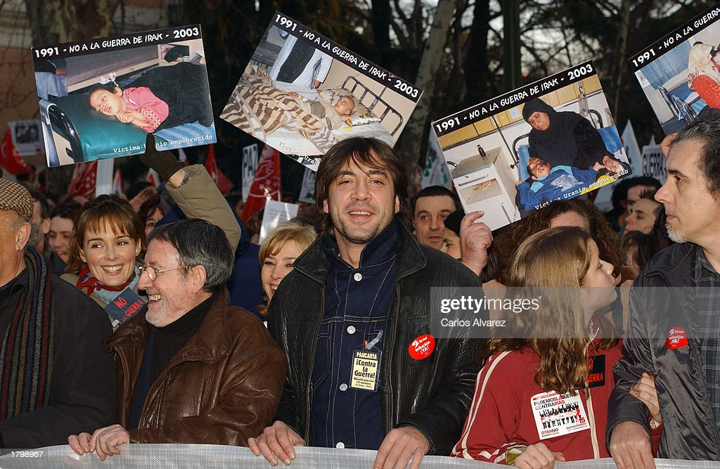 Actor Javier Bardem (C) attends an anti-war demonstration February 15, 2003 in Madrid, Spain. People marched around the world against a possible U.S. led invasion of Iraq.