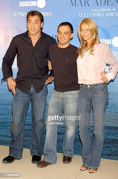 Actor Javier Bardem Director Alejandro Amenabar and Actress Belen Rueda Attend a Photocall and Press Conference for 'MAR ADENTRO' at the Hesperia...