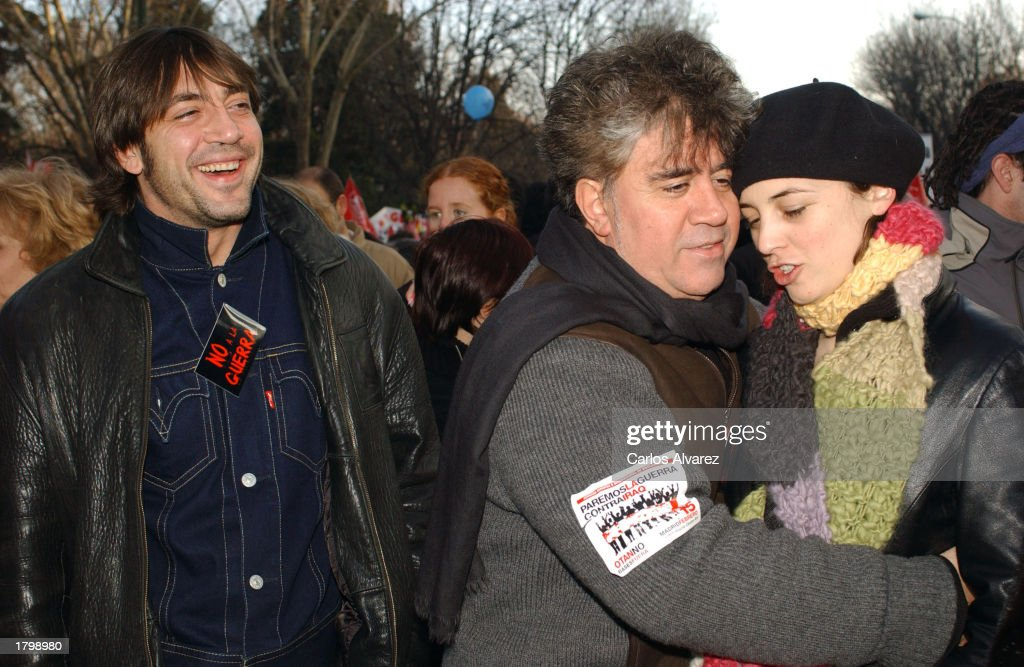 Actor Javier Bardem, director Pedro Almodovar and actress Leonor Watling march in an anti-war demonstration February 15, 2003 in Madrid, Spain. People marched around the world against a possible U.S. led invasion of Iraq.