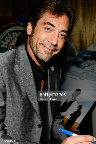 Actor Javier Bardem signs movie poster for charity at the Critics' Choice Awards at the Santa Monica Civic Center on January 7 2008 in Santa Monica...