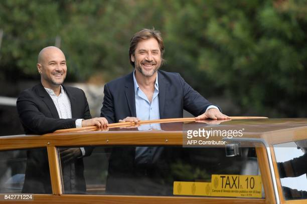 Actor Javier Bardem stands on a taxiboat as he arrives at the Excelsior Hotel during the 74th Venice Film Festival on September 5 2017 at Venice Lido...