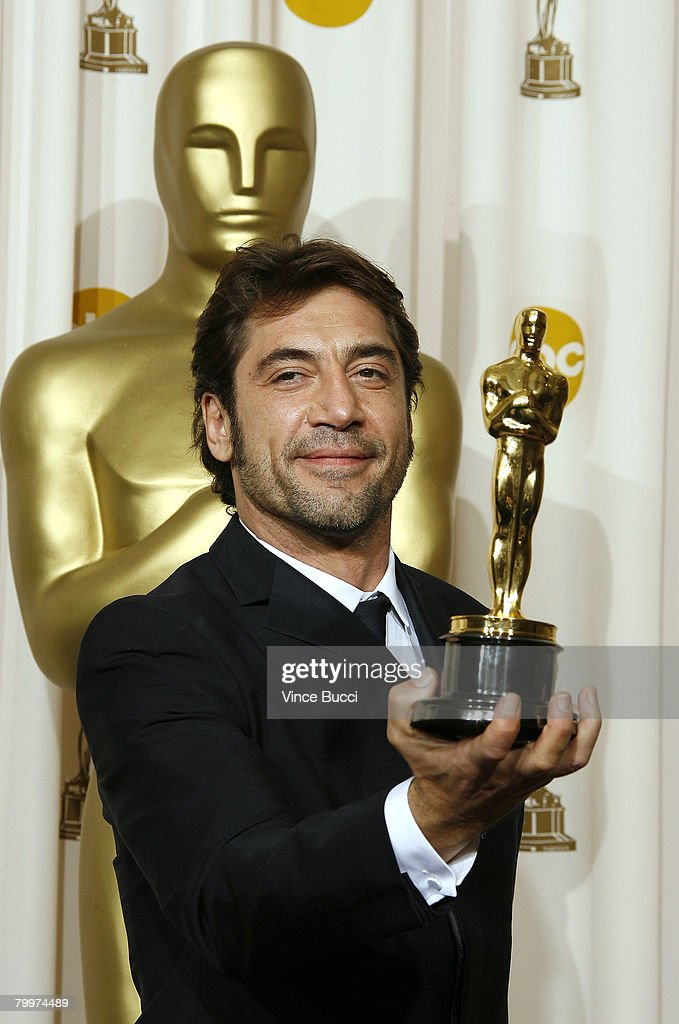 Actor Javier Bardem, winner of the Performance By An Actor In A Supporting Role award for 'No Country for Old Men' poses in the press room during the 80th Annual Academy Awards held at the Kodak Theatre on February 24, 2008 in Hollywood, California.