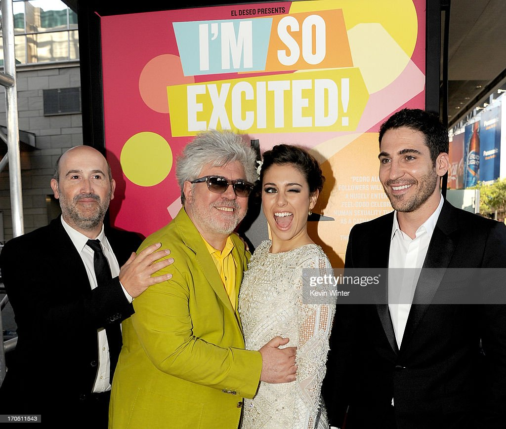 Actor Javier Camara director Pedro Almodovar actors Blanca Suarez and Miguel Angel Silvestre arrive at the premiere of Sony Pictures Classics 'I'm So...