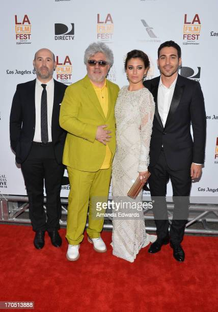 Actor Javier Camara director Pedro Almodovar actors Blanca Suarez and Miguel Angel Silvestre arrive at the 2013 Los Angeles Film Festival Opening...