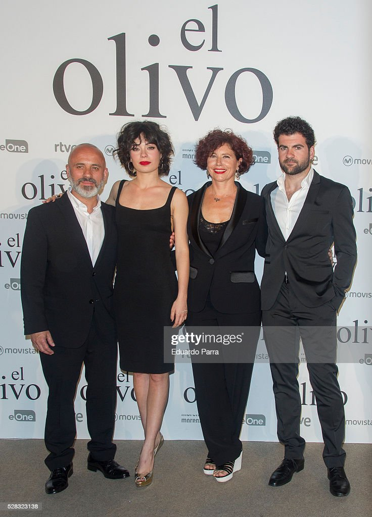 Actor Javier Gutierrez, actress Anna Castillo, director Iciar Bollain and actor Pep Ambros attend 'El olivo' premiere at Capitol cinema on May 04, 2016 in Madrid, Spain.