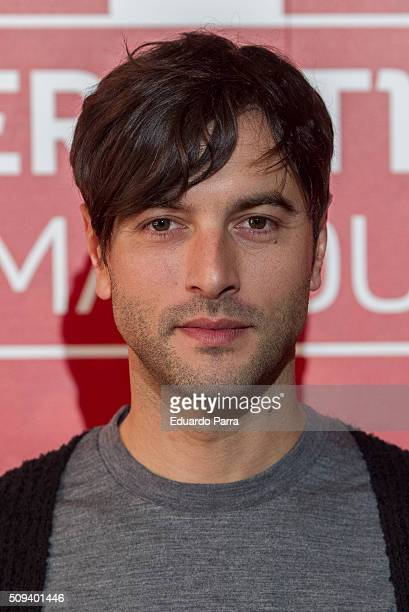 Actor Javier Rey attends a pint pulling masterclass photocall at La Latina space on February 10 2016 in Madrid Spain