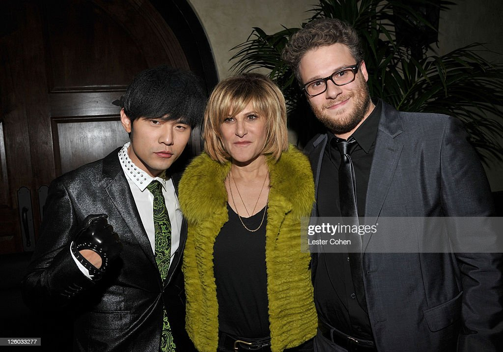 Actor <a gi-track='captionPersonalityLinkClicked' href=/galleries/search?phrase=Jay+Chou&family=editorial&specificpeople=697028 ng-click='$event.stopPropagation()'>Jay Chou</a>, Co-Chairman of Sony Pictures Entertainment <a gi-track='captionPersonalityLinkClicked' href=/galleries/search?phrase=Amy+Pascal&family=editorial&specificpeople=207083 ng-click='$event.stopPropagation()'>Amy Pascal</a> and Executive Producer/Writer/ Actor <a gi-track='captionPersonalityLinkClicked' href=/galleries/search?phrase=Seth+Rogen&family=editorial&specificpeople=3733304 ng-click='$event.stopPropagation()'>Seth Rogen</a> attend the 'The Green Hornet 3D' Los Angeles Premiere After Party held at the Roosevelt Hotel on January 10, 2011 in Hollywood, United States.