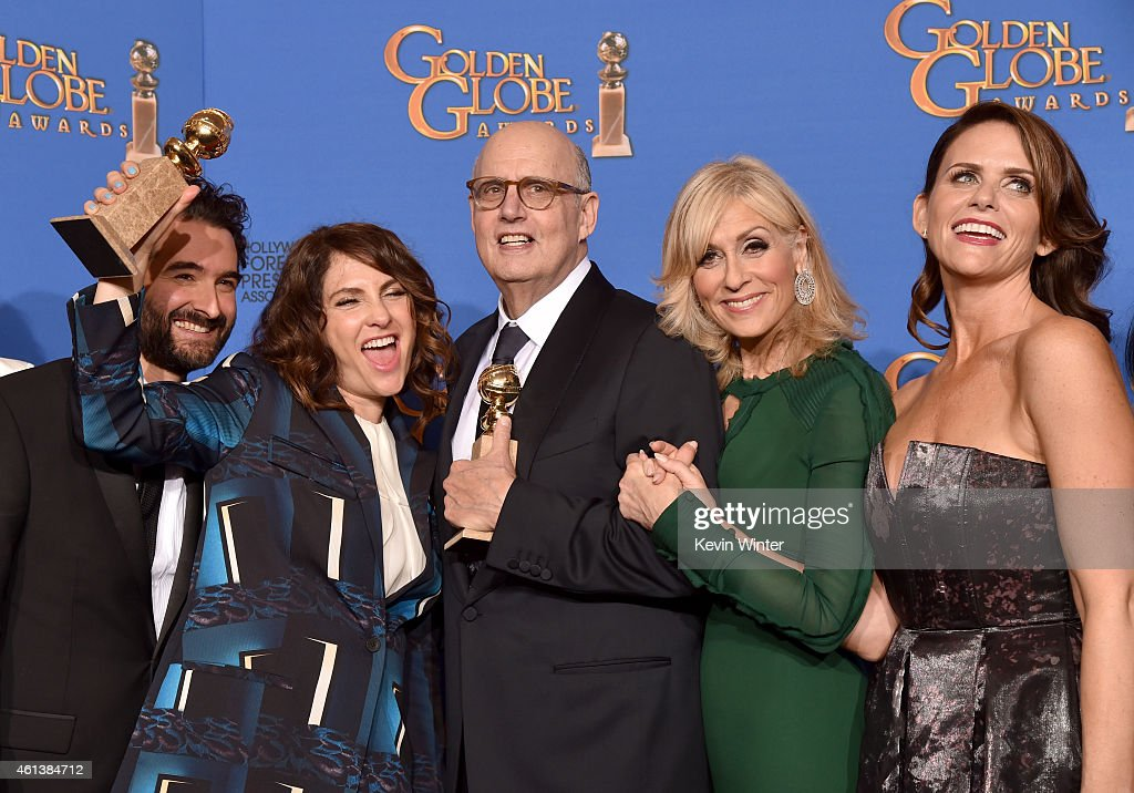 Actor Jay Duplass, writer/producer/director Jill Soloway, actors Jeffrey Tambor, Judith Light and Amy Landecker, winners of Best Actor in a Television Series – Musical or Comedy for 'Transparent,' pose in the press room during the 72nd Annual Golden Globe Awards at The Beverly Hilton Hotel on January 11, 2015 in Beverly Hills, California.
