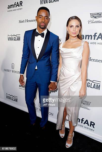 Actor Jay Ellis and actress Nina Senicar attend amfAR's Inspiration Gala Los Angeles at Milk Studios on October 27 2016 in Hollywood California