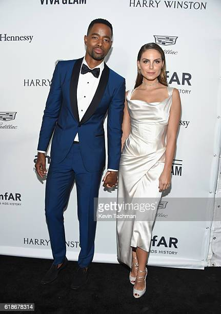 Actor Jay Ellis and actress Nina Senicar attend amfAR's Inspiration Gala at Milk Studios on October 27 2016 in Hollywood California