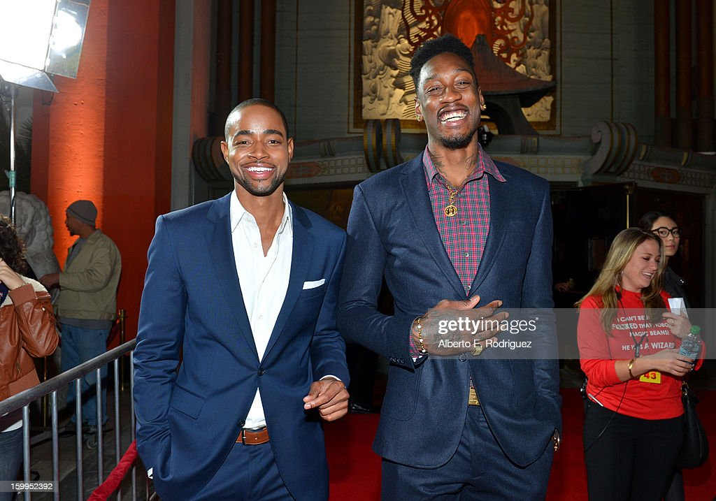 Actor Jay Ellis (L) and NBA player Larry Sanders of the Milwaukee Bucks attend Relativity Media's 'Movie 43' Los Angeles Premiere held at the TCL Chinese Theatre on January 23, 2013 in Hollywood, California.