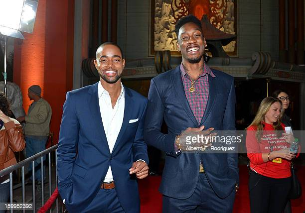 Actor Jay Ellis and NBA player Larry Sanders of the Milwaukee Bucks attend Relativity Media's 'Movie 43' Los Angeles Premiere held at the TCL Chinese...