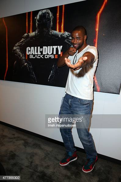 Actor Jay Ellis checks out Call of Duty Black Ops 3 at the Activision booth at the E3 Convention at the Los Angeles Convention Center on June 16 2015...