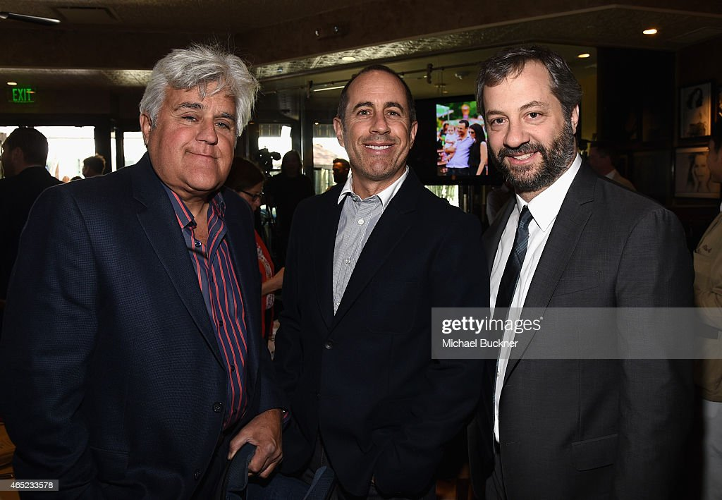 Actor Jay Leno Baby Buggy Founder Jessica Seinfeld and producer Judd Apatow attend the Inaugural Los Angeles Fatherhood Lunch to Benefit Baby Buggy...