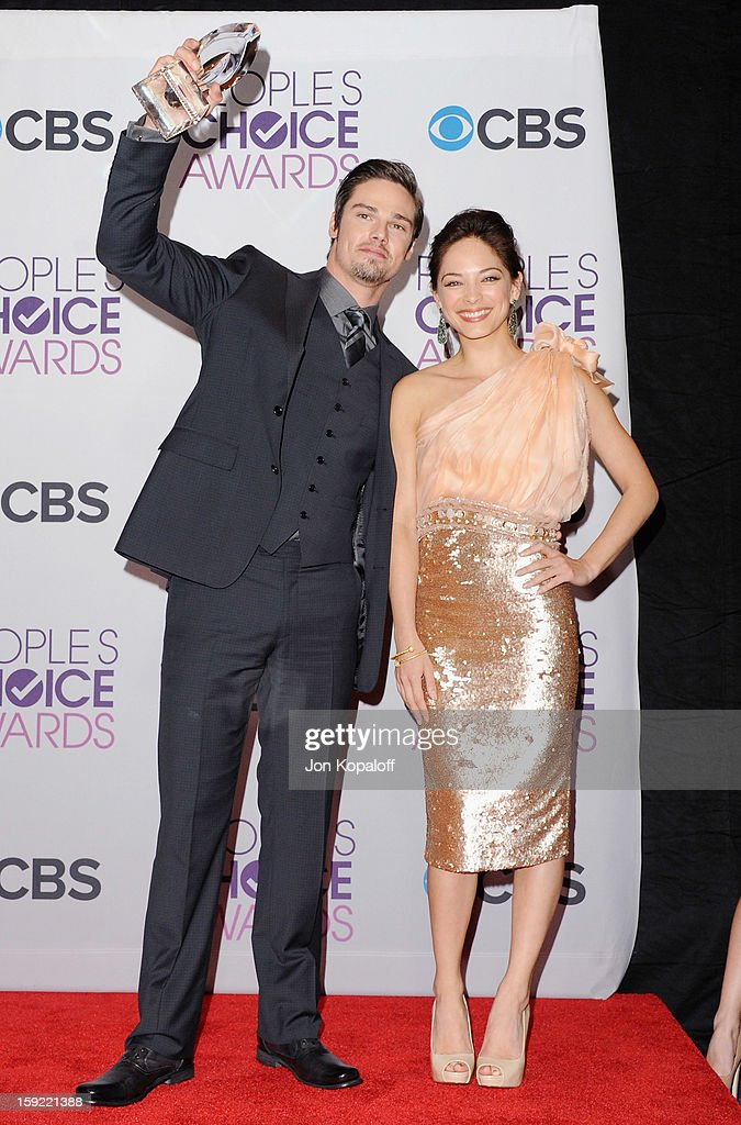 Actor Jay Ryan and actress Kristin Kreuk pose in the pressroom at the 2013 People's Choice Awards at Nokia Theatre L.A. Live on January 9, 2013 in Los Angeles, California.