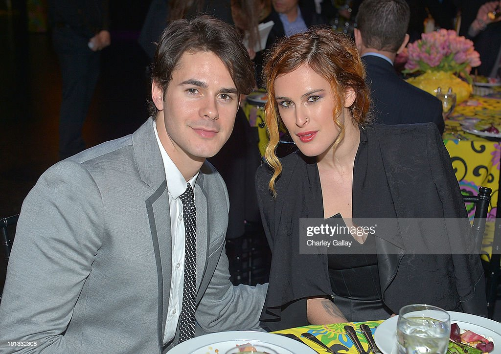 Actor Jayson Blair (L) and actress <a gi-track='captionPersonalityLinkClicked' href=/galleries/search?phrase=Rumer+Willis&family=editorial&specificpeople=617003 ng-click='$event.stopPropagation()'>Rumer Willis</a> attend the Family Equality Council LA Awards Dinner at The Globe Theatre at Universal Studios on February 9, 2013 in Universal City, California.