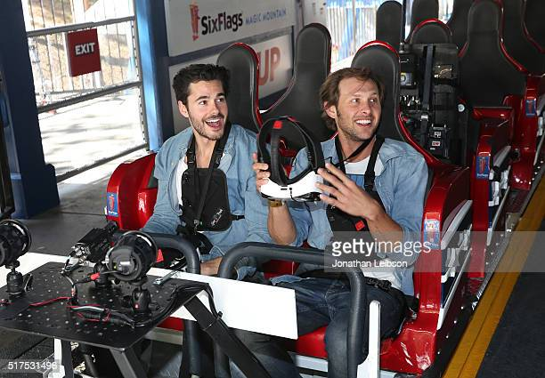 Actor Jayson Blair and Patrick Bates attend Samsung debut of the first virtual reality coaster powered by Samsung Gear VR at Six Flags Magic Mountain...