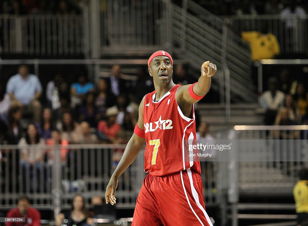 Actor J.B. Smoove of the West team reacts to a play against the East team during the Sprint All-Star Celebrity Game on center court at Jam Session during the NBA All-Star Weekend on February 24, 2012 at the Orange County Convention Center in Orlando, Florida.