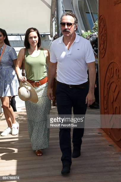Actor Jean Dujardin and Nathalie Pechalat are spotted at Roland Garros on June 11 2017 in Paris France
