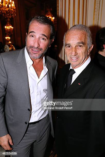 Actor Jean Dujardin and President of the 'Cesar' the French Academy awards Alain Terzian at the Chaumet's Cocktail Party for Cesar's Revelations 2014...