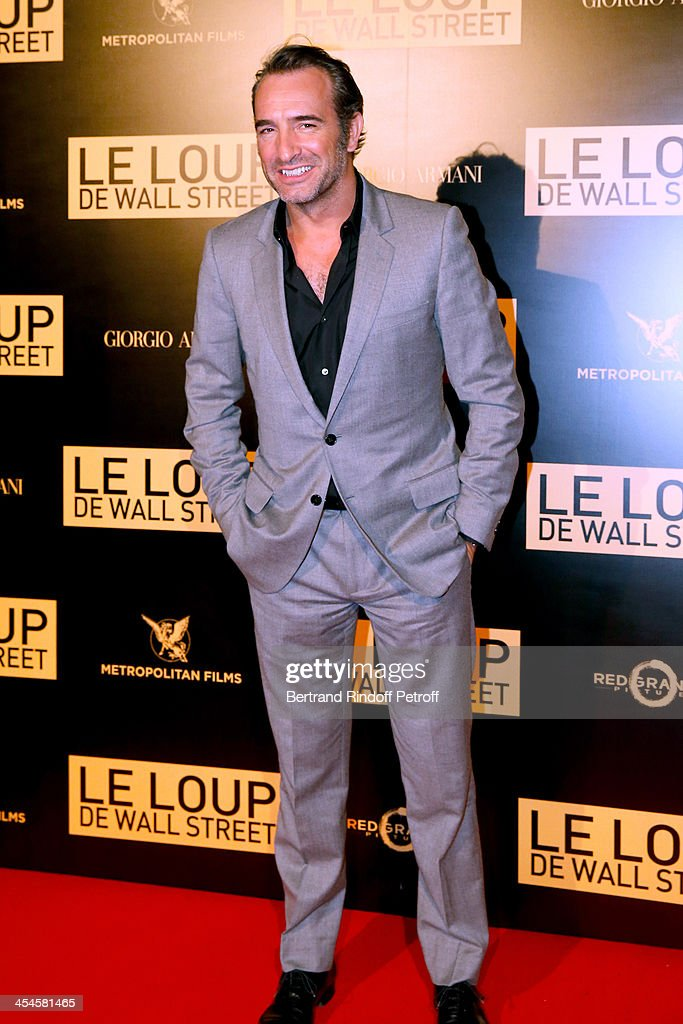 Actor <a gi-track='captionPersonalityLinkClicked' href=/galleries/search?phrase=Jean+Dujardin&family=editorial&specificpeople=620972 ng-click='$event.stopPropagation()'>Jean Dujardin</a> attends the photocall before the party for 'The Wolf of Wall Street' World Premiere. Held at Palais Brogniart on December 9, 2013 in Paris, France.