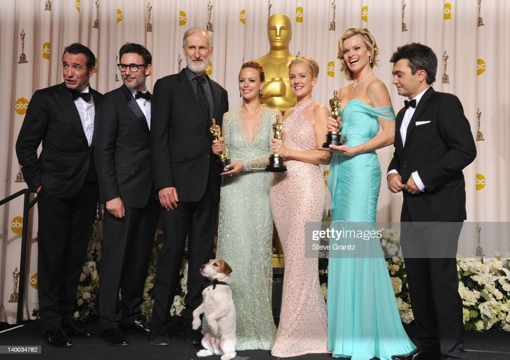 Actor Jean Dujardin director Michel Hazanavicius actors James Cromwell Uggie the dog Berenice Bejo Penelope Ann Miller and Missi Pyle and producer...
