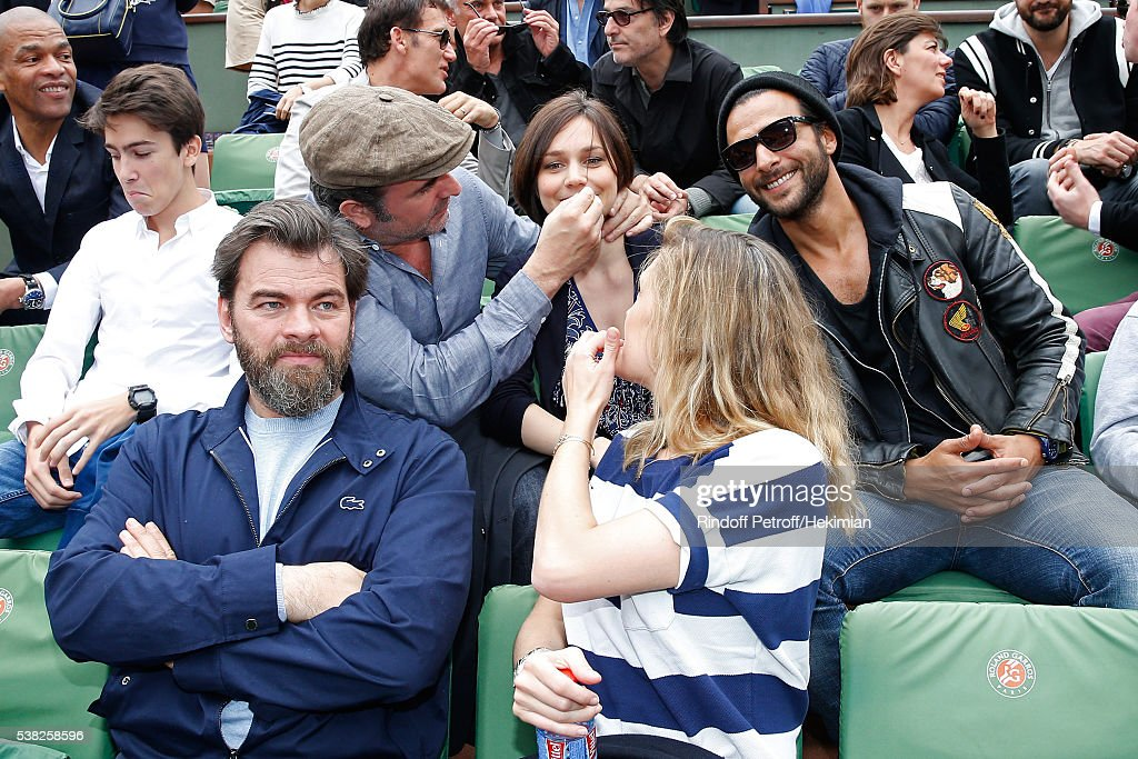 Actor Jean Dujardin Nathalie Pechalat singer Maxime Nucci actors Clovis Cornillac and his wife Lilou Fogli attend Day Fifteen Men single's Final of...