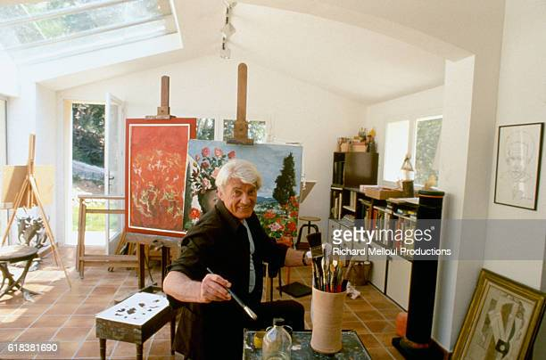 Actor Jean Marais who is also an accomplished painter is in his studio in Vallauris France