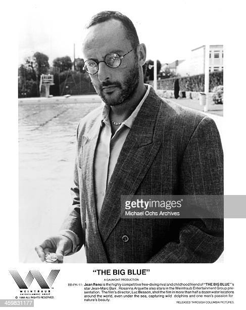 Actor Jean Reno on set of the movie 'The Big Blue ' circa 1988