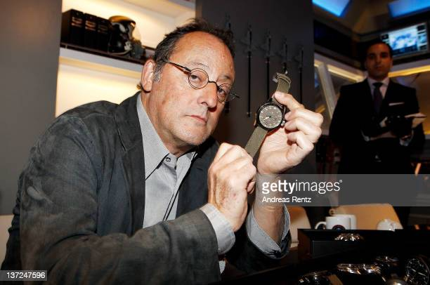 Actor Jean Reno visits the IWC Schaffhausen booth during the 22nd SIHH High Jewellery Fair at the Palexpo Exhibition Hall on January 17 2012 in...