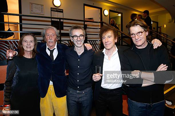 Actor Jean Rochefort and his wife Francoise Singers Vincent Delerm Alain Souchon and Francis Cabrel attend the '10th Charity Gala Against Alzheimer's...