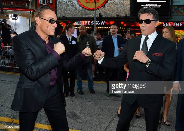 Actor JeanClaude Van Damme and Actor/Writer/Director Sylvester Stallone arrive at Lionsgate Films' 'The Expendables 2' premiere on August 15 2012 in...