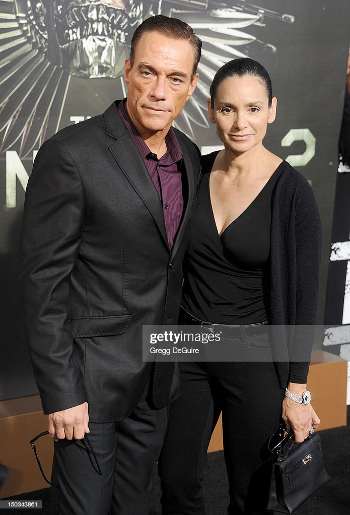 Actor <a gi-track='captionPersonalityLinkClicked' href=/galleries/search?phrase=Jean-Claude+Van+Damme&family=editorial&specificpeople=566465 ng-click='$event.stopPropagation()'>Jean-Claude Van Damme</a> and <a gi-track='captionPersonalityLinkClicked' href=/galleries/search?phrase=Gladys+Portugues&family=editorial&specificpeople=3205735 ng-click='$event.stopPropagation()'>Gladys Portugues</a> arrive at Los Angeles premiere of 'The Expendables 2' at Grauman's Chinese Theatre on August 15, 2012 in Hollywood, California.