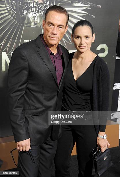 Actor JeanClaude Van Damme and Gladys Portugues arrive at Los Angeles premiere of 'The Expendables 2' at Grauman's Chinese Theatre on August 15 2012...